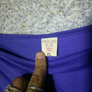 darling blue Tops - Darling Blue Size XL Open Cold Shoulder Blouse Top
